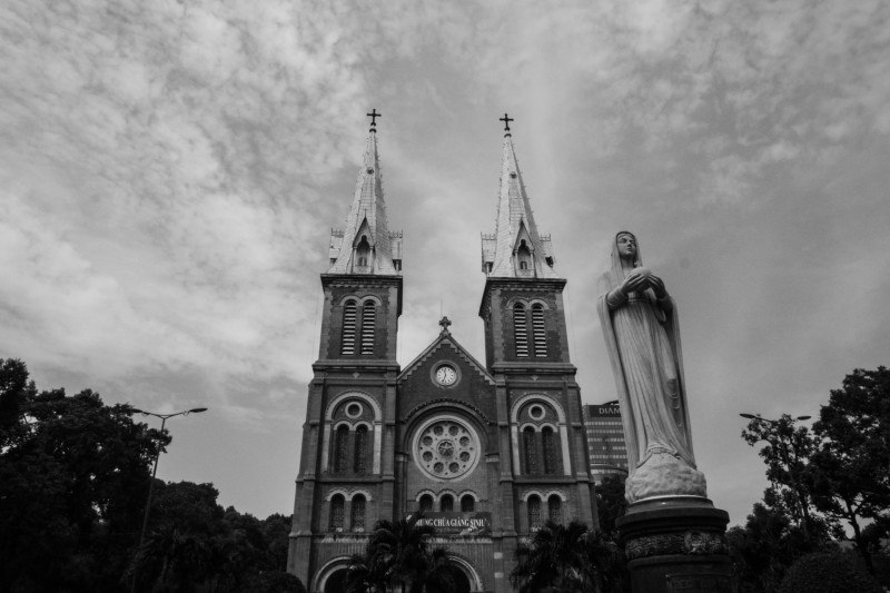 Saigon Notre Dame Cathedral In Black And White